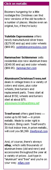 usa today aluminum christmas trees article